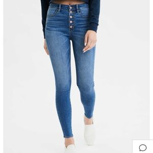 American eagle high waisted button fly jeans